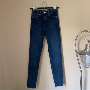 TOPSHOP High-Rise Dark Wash Skinny Jeans